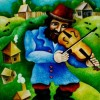 –The violinist–oil on canvas62x54cm. Original