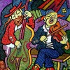 Composition–Musicians–mixed technics on canvas 100x80cm.
