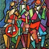 composition–Musicians–mixed technics on canvas 80x60cm.