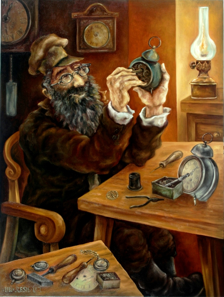 --The watch-maker--oil on canvas80x60cm.
