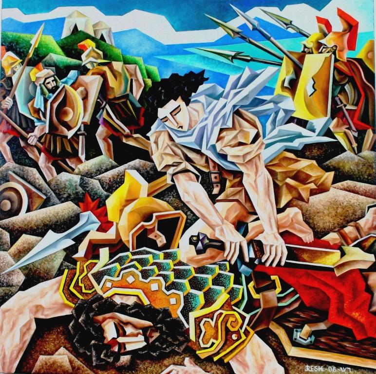 composition--David and Goliaf--oil on canvas100x100cm. Original $2500