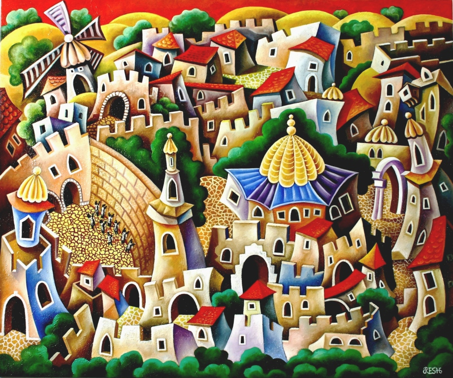 composition-- Jerusalem-- mixed technics oil on canvas 100x120cm.