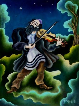 -The  violinist--   oil   on  canvas  50x40 cm. Original