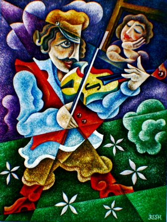 --Violin serenade--oil on canvas80x60cm. Original