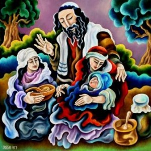 --Happy family-- oil on canvas 80x80cm. Original
