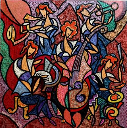 composition--Quintet--mixed texnics on canvas 72x72 cm.