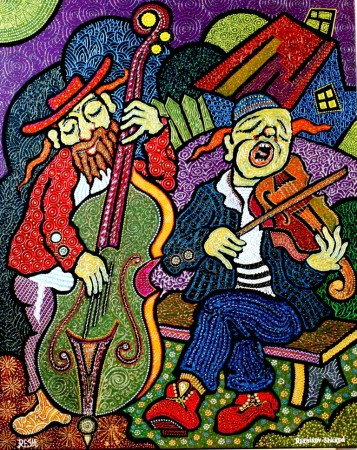 Composition--Musicians--mixed technics on canvas 100x80cm.