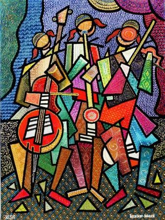 composition--Musicians--mixed technics on canvas 80x60cm.