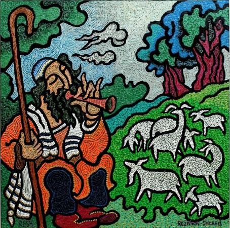 composition--Shepherd--mixed technics on canvas 60x60cm.